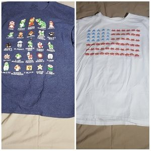 Mario bros and space invaders tees